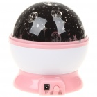 USB/4xAAA Batteries Powered Doraemon Style Rotating Moon & Star Projector Night Light - Pink