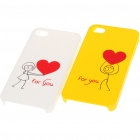 Romantic Lovers Protective Case for iPhone 4 - Yellow + White (2 Piece Pack)