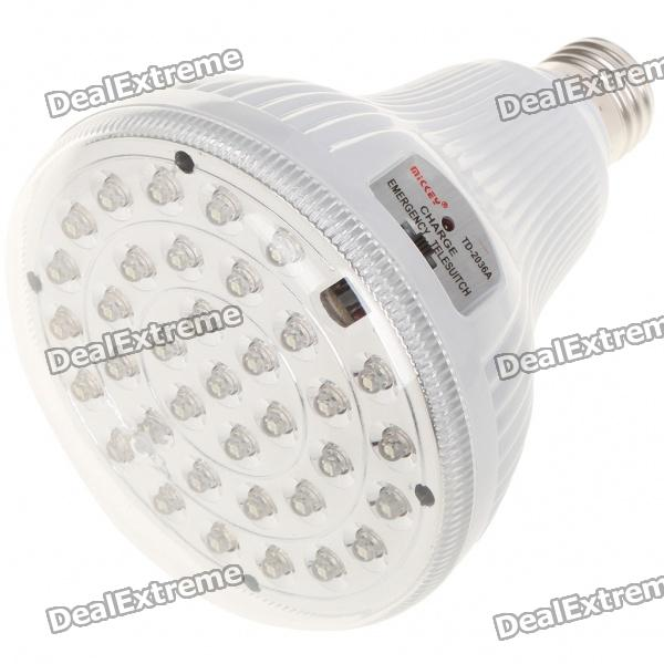 E27 3W White 36-LED Rechargeable Emergency Light Bulb (100~240V) dp led 729 rechargeable 2 52w 100lm 6000k 36 led white light 2 mode emergency light white black