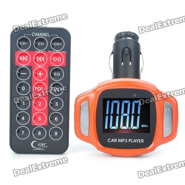 1.5 LCD Car MP3 Music Speaker FM Transmitter with USB/SD/TF Slot/Remote Controller - Orange stylish portable mp3 music speaker with fm radio sd slot usb host multi color led white