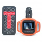 "1.5"" LCD Car MP3 Music Speaker FM Transmitter with USB/SD/TF Slot/Remote Controller - Orange"