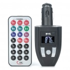 "0.8"" LCD Car MP3 Music Speaker FM Transmitter with USB/SD/TF Slot/Remote Controller - Black"