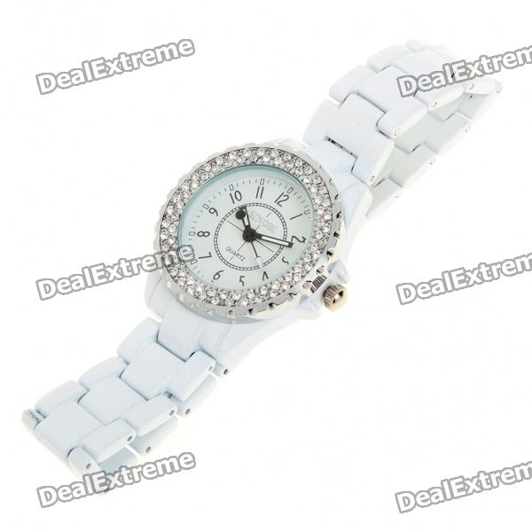Fashion Water Resistant Quartz Wrist Watch with Crystal(1x626) stylish crystal stainless steel quartz water resistant wrist watch light blue 1 x lr626