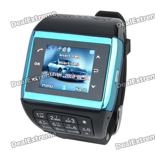 "1.3"" Touch Screen Wrist Watch Style Dual SIM Quadband GSM Cell Phone w/ Camera - Black + Blue thumbnail"