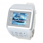 "1.3"" Touch Screen Wrist Watch Style Dual SIM Quadband GSM Cell Phone w/ Camera - White + Silver"