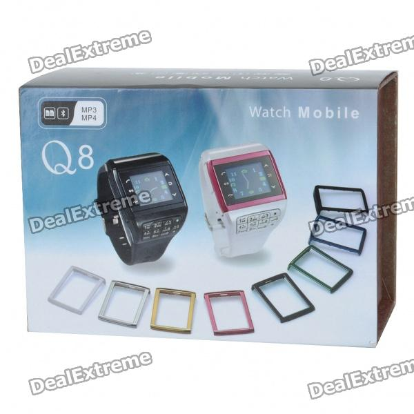 "1.3"" Touch Screen Wrist Watch Style Dual SIM Quadband GSM Cell Phone w/ Camera - Black + Gold"