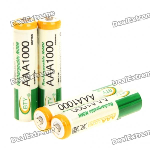 "Rechargeable ""1000mAh"" 1.2V AAA Batteries - Actual 350mAh (4-Piece Pack)"