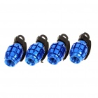 Universal Cool Grenade Shaped Car Tire Valve Caps - Blue (4PCS)
