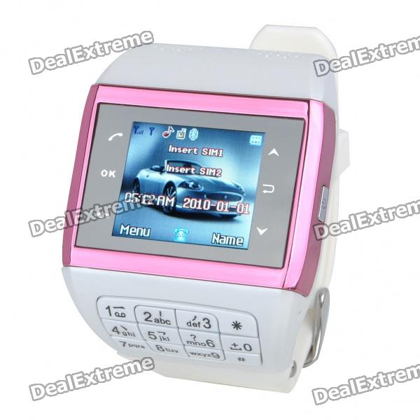 1.3 Touch Screen Wrist Watch Style Dual SIM Quadband GSM Cell Phone w/ Camera - White + Pink i5 gsm wrist watch phone w 1 8 resistive screen quad band single sim and fm black