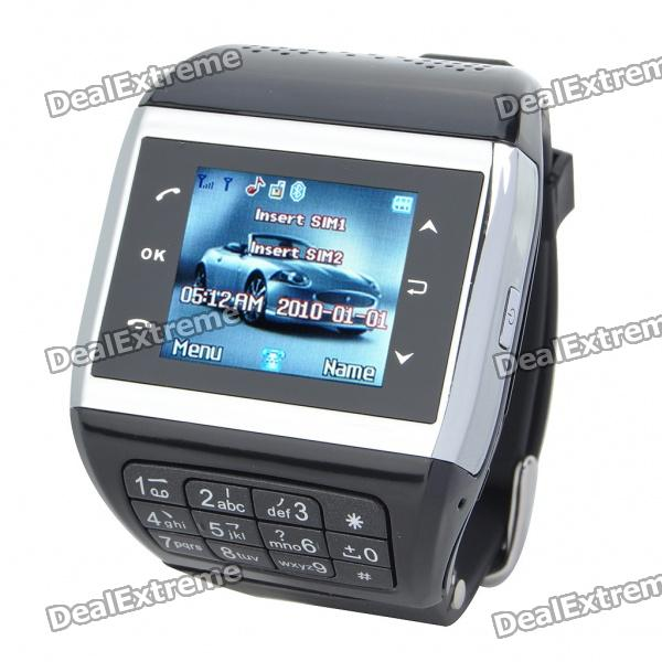 "1.3"" Touch Screen Wrist Watch Style Dual SIM Quadband GSM Cell Phone w/ Camera - White + Black thumbnail"
