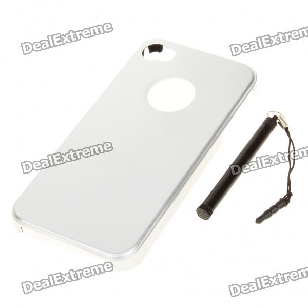 Protective Aluminum Back Case with Stylus for Iphone 4 - Silver