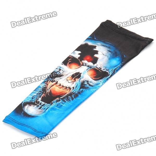 Trendy Terylene Shooter Arm Sleeve - Blue + Black