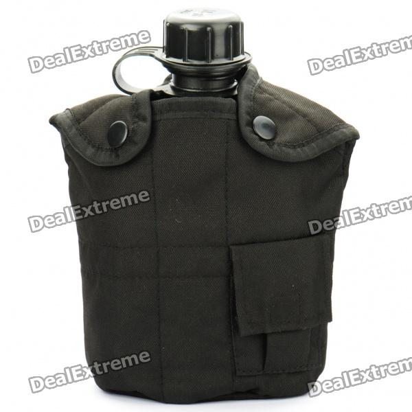 Unique WW II US Army Style Aluminum Canteen with Cup Set - Black (1L)