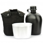 Unique US Army Style Canteen with Aluminium Cup Set - Black (1L)