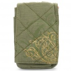 Protective Canvas Bag with Strap & Carabiner Clip for Iphone 4 - Flower (Army Green)