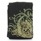 Protective Canvas Bag with Strap & Carabiner Clip for Iphone 4 - Flower (Black)