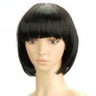 Fashion Short Natural Straight Hair Wig - Black