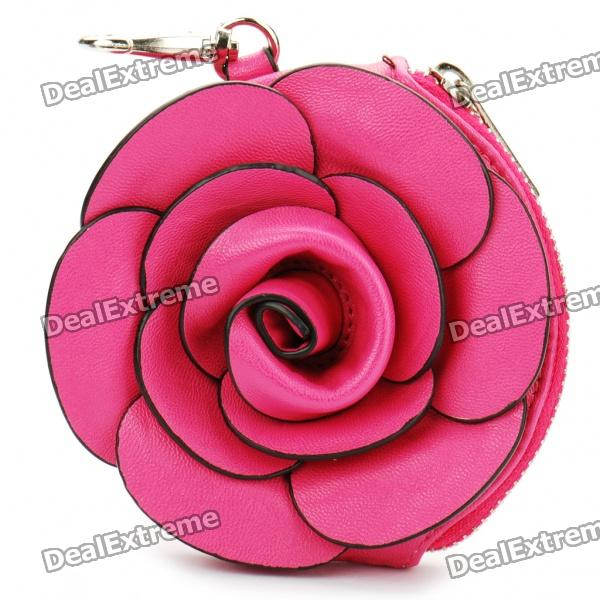 Elegant PU Leather Rose Shaped Coin Purse with Keychain (Random Colors)