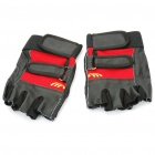 Sporty PU Leather Half-Finger Gloves - Black + Red