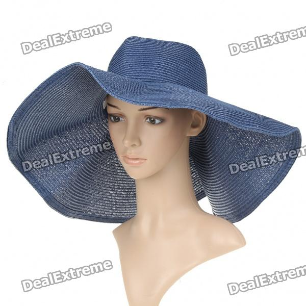 Elegant Straw-Woven Sun Floppy Wide Brim Hat - Blue stetson men s breakers premium shantung straw hat