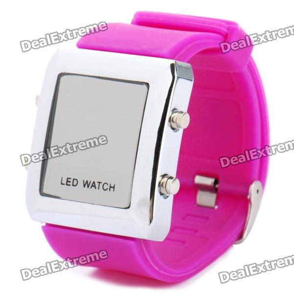 Fashion Sports Water Resistant Red LED Display Digital Wrist Watch - Purple (1 x CR2032) fashion stainless steel red yellow led water resistant wrist watch black 2 x cr2016