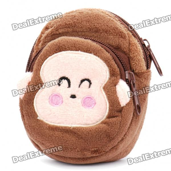 Cute Monkey Style Plush Bag/Pouch w/ Strap - Brown
