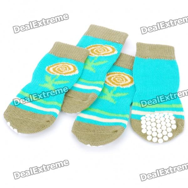 Cute Comfy Anti-slip Warm Socks for Puppy Pets (Random Color/Set of 4)