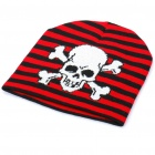 Cool Skull Pattern Woolen Knitted Hat - Black + White + Red