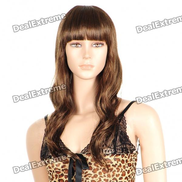 Fashion Long Curly Hair Wigs - Flaxen Brown