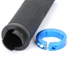Replacement Bicycle Bike Plastic Handlebar Hand Grip - Black + Blue (Pair)
