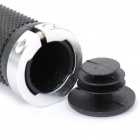 Replacement Bicycle Bike Plastic Handlebar Hand Grip - Black + Silver (Pair)