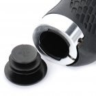 Comfortable Rubber + Aluminum Alloy Bicycle Handlebar Grips - Black + Silver (Pair)