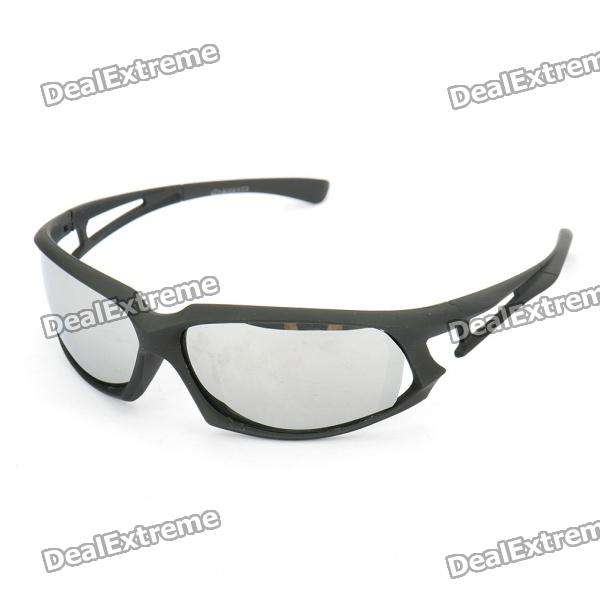 Fashion Windproof Reflective Resin Lens Sunglasses - Black + Silver