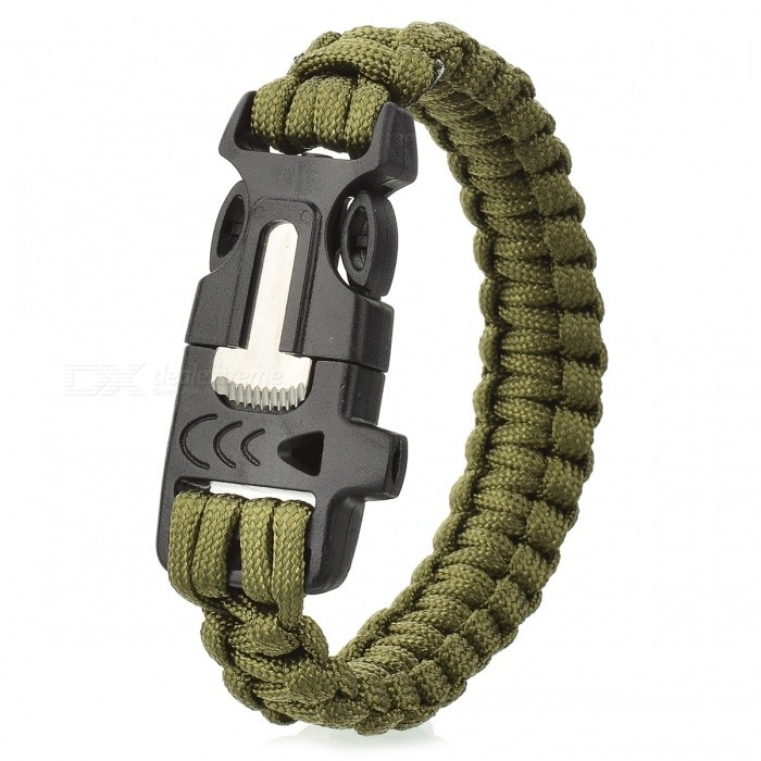 Survival Nylon Bracelet with Whistle - Army Green outdoor sports nylon survival paracord bracelet w compass yellow black