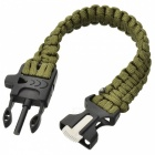 Survival Nylon Bracelet with Whistle - Army Green