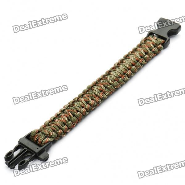 Survival Nylon Bracelet with Whistle - Camouflage outdoor sports nylon survival paracord bracelet w compass yellow black