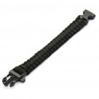 Survival Nylon Bracelet with Whistle - Black