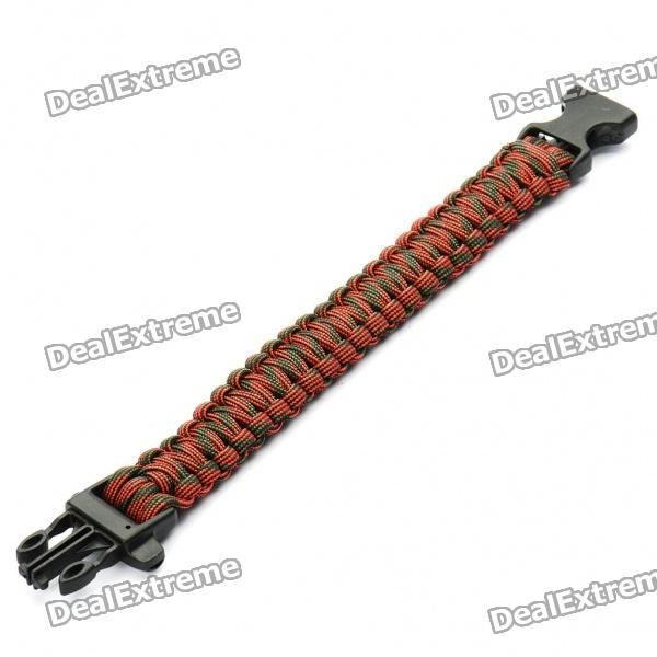 Survival Nylon Bracelet with Whistle - Red + Green survival nylon bracelet with whistle camouflage