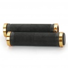 Aluminium Plastic Handle Bar Grips - Black + Golden (Pair)