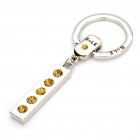 Alloy Plated Bole Vehicle Keychain - Silver + Yellow