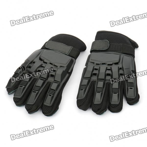 Cool Protective Plastic Shell Fiber Gloves for War Game (Pair/Size-L) protective outdoor war game military skull half face shield mask black