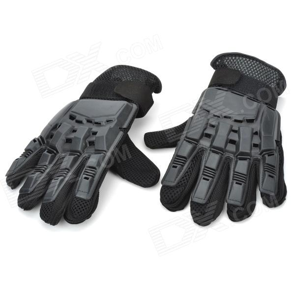 Cool Protective Plastic Shell Fiber Gloves for War Game (Pair/Size-XL)