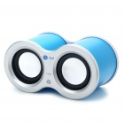 USB Rechargeable Dual Speaker with FM/TF Slot - Blue (3.5mm Jack)