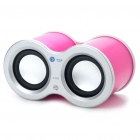 USB Rechargeable Dual Speaker with FM/TF Slot - Deep Pink (3.5mm Jack)