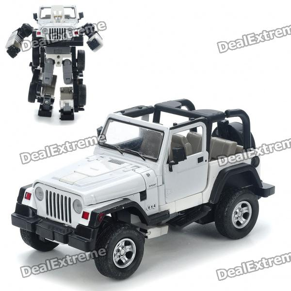 Transformable Car Vehicle to Robot Figure Toys - Jeep (White + Black) bburago x6 1 18 scale alloy model metal diecast car toys high quality collection kids toys gift