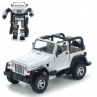Transformable Car Vehicle to Robot Figure Toys - Jeep (White + Black)
