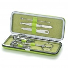 Stainless Steel Nail Clippers Scissors File Manicure Tools with PU Leather Case - Green