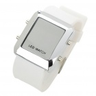 Stylish Water Resistant Red LED Digits Wrist Watch - White + Silver (1 x CR2032)