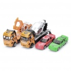 Cool Metal Car Model Toys 2 Racing Car + Tanker Truck + Excavator (Set of 4)