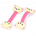 Cute Rilakkuma Style Earphone Cord Cable Winder Organizer - Pink + Light Yellow (Pair)
